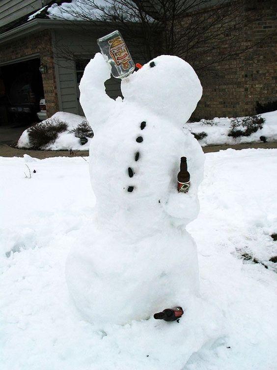alcohol drinking snowman #snowSculpture #snow #winter #sculpture #funny