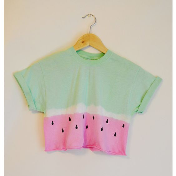 Tie Dye Watermelon Crop Top s/m/l/xl ($20) ❤ liked on Polyvore featuring tops, t-shirts, tye die t shirts, tiedye t shirts, green top, vinyl t shirt and tie die t shirts