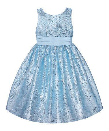 Another great find on #zulily! Ice Blue Sequin Swirl Dress - Girls' Plus #zulilyfinds