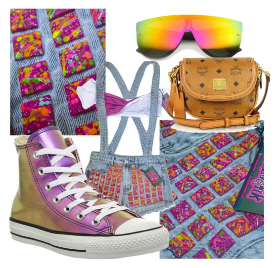 """"""":)"""" by hs1markitawilliams ❤ liked on Polyvore featuring MCM and Converse"""