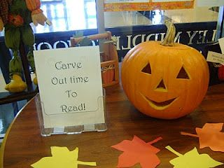 """I like this title: """"Carve Out Time to Read!"""" for an idea for a Halloween bulletin board display that highlights reading.  I would have students complete a related creative writing assignment using pumpkin shaped templates.  From:  shelfmouse"""