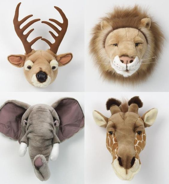 Plush taxidermy, they even have country, forrest and wild collections so you can choose the perfect severed head for your child's collection ;-):