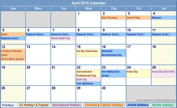 Calendar April Holidays : Holidays in april calendar with us christian