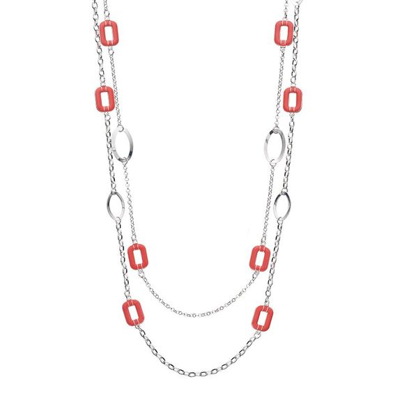 Long Rectangle & Oval Link Multi Strand Necklace, Women's, Brt Pink