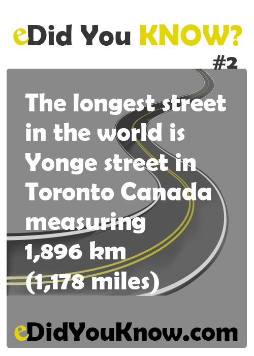 The longest street in the world is Yonge street in Toronto Canada measuring 1,896 km (1,178 miles). http://toronto.awesome-canada.com/ #toronto #canada