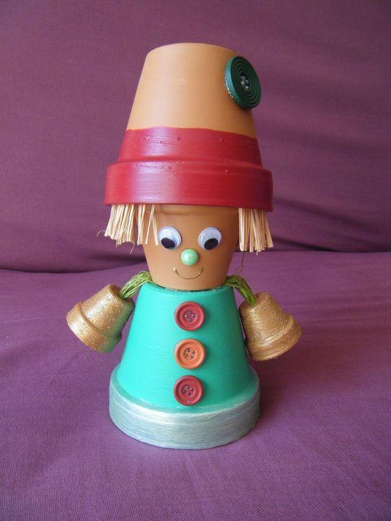 personnage en pot de terre cuite personnages en pots pinterest artisanat pots d 39 argile et. Black Bedroom Furniture Sets. Home Design Ideas