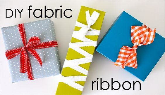 DIY fabric ribbon and other repurposed wrapping ideas