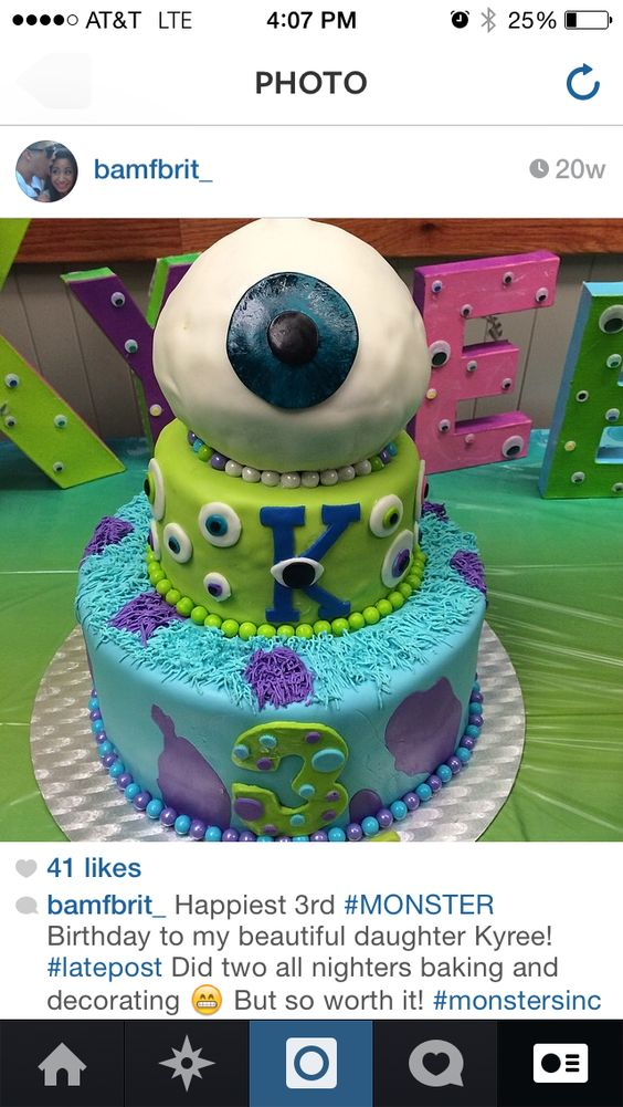 #Diy #MonstersInc #birthdaycake #monster #party #eyeball #cake #sully #mike #boo #kitty #monsters