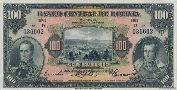 Bolivia 100 Bolivianos 1928 Bank Notes Us Dollars Dollar