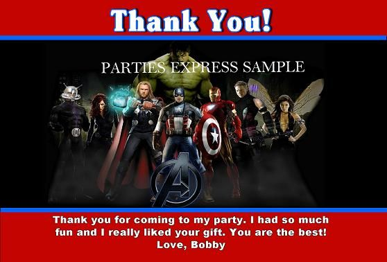 Avengers Thank you cards / notes for Birthday party