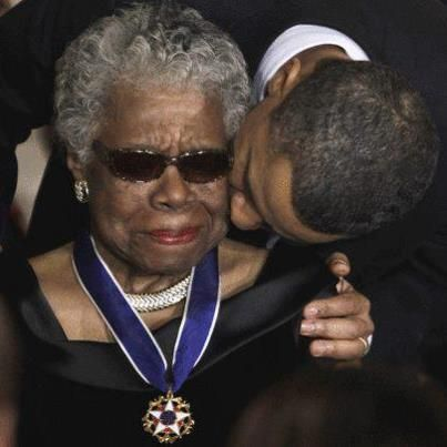 President Obama gives Maya Angelou a member of Alpha Kappa Alpha Sorority, Inc. the Presidential Medal of Freedom, the highest civilian honor in the land. A well deserved award, and a particularly poignant moment captured on film.