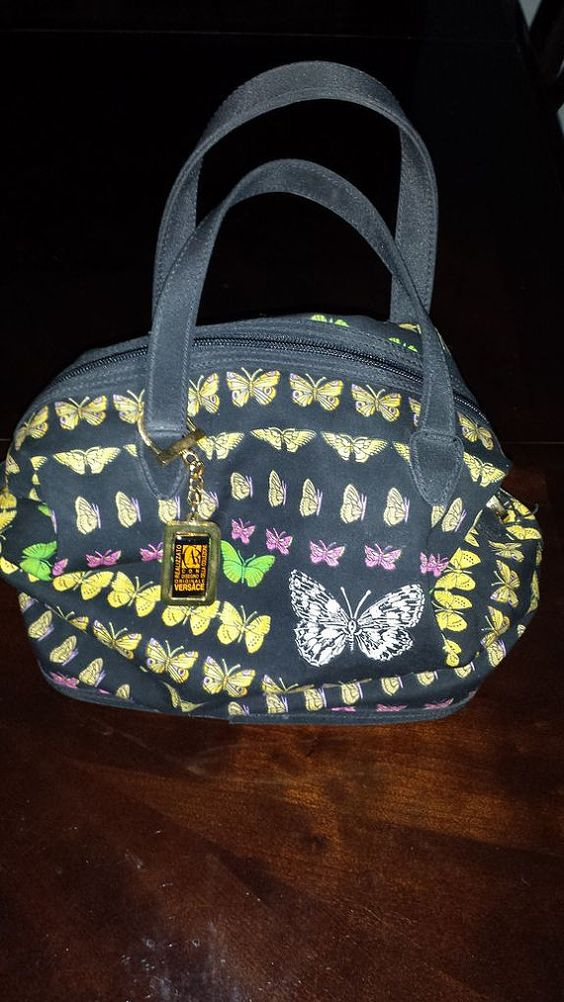 Authentic Versace Antique 1995 Black/ Butterfly Purse
