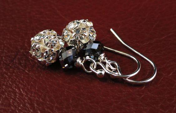 Rhinestone Rounds Swarovski Crystal Earrings by redlilygems, $20.00