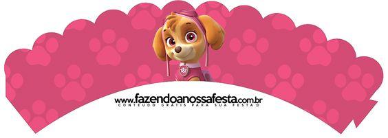 Saias Wrappers para Cupcakes Patrulha Canina para Meninas