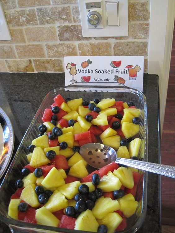 Great Adult treat for your 4th or July party. Vodka soaked fruit. I used passion fruit flavored vodka because it had the best flavor. You can also use the left over vodka at the end to make a yummy fruity drink. Enjoy!