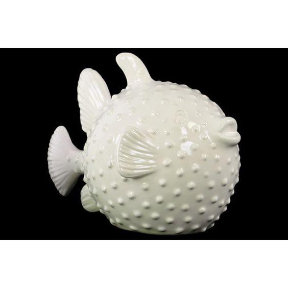 Pufferfish Porcelain -add him to your decor to put a smile on anyones face :)  #BeachHouseCoastalDecor