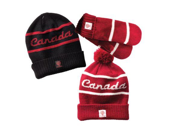 Tuques Canada et mitaines rouges