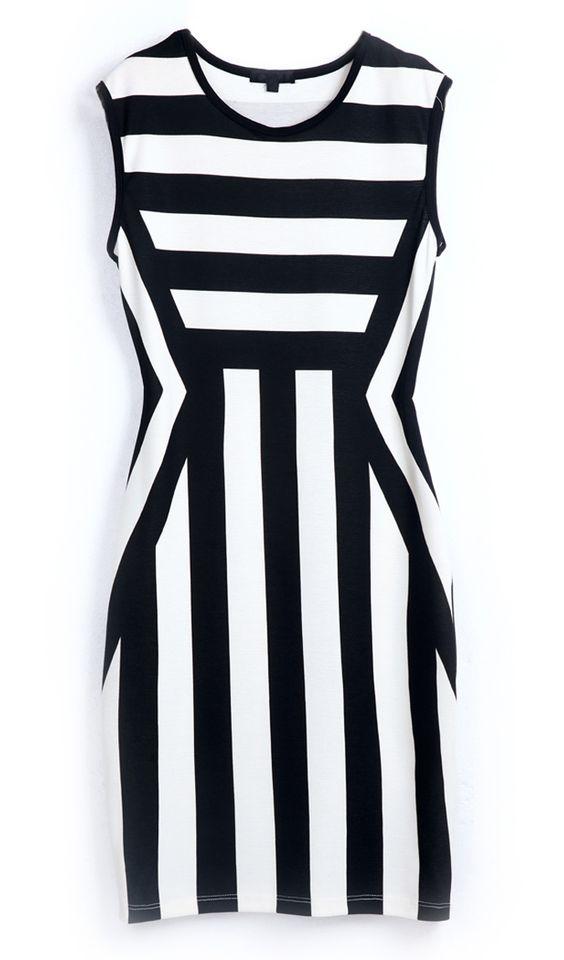 Black White Striped Round Neck Sleeveless Dress
