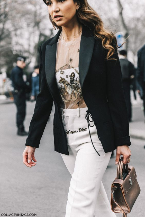 Negin Mirsalehi street style at Paris Couture Fashion Week wearing a sheer embellished top, blazer and white pants | Collage Vintage: