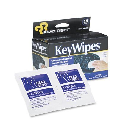 Read Right KeyWipes Keyboard & Hand Cleaner Wet Wipes, 5 x 6 7/8, 18/Box, Multicolor