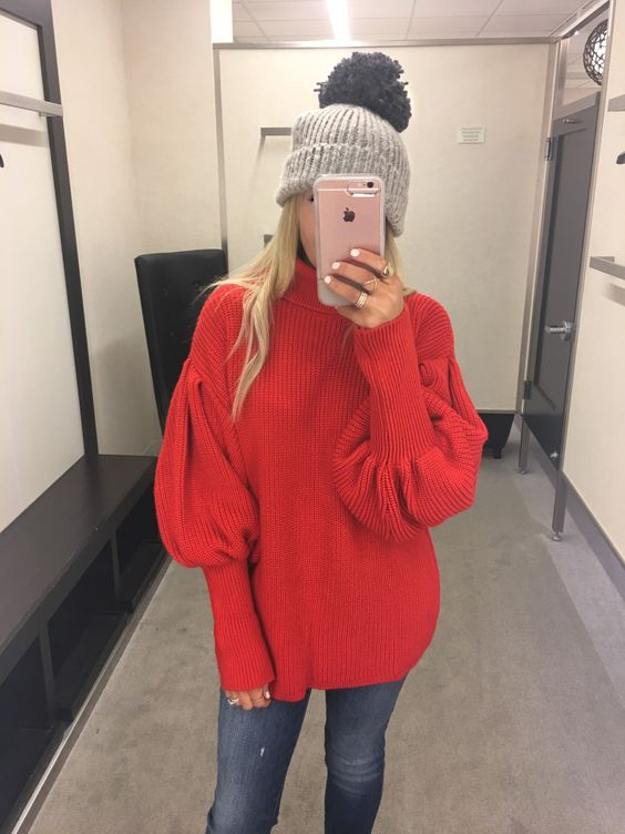 The best red sweater for winter. Love the balloon sleeve detail.