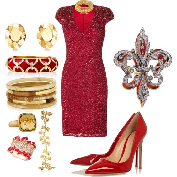 Gold and Red Sparkling Evening Wear by cricketdiane on Polyvore featuring Jenny Packham, Gianvito Rossi, R.H. Macy's & Co., Paula Mendoza, Elsa Peretti, Kenneth Jay Lane, Ashley Pittman and Ciner