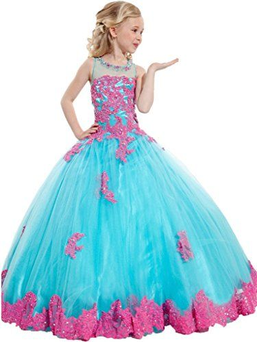 Y&amp-C Girls&-39- Ball Gown Appliques Beads O-neck Pageant Dresses 2/2T ...