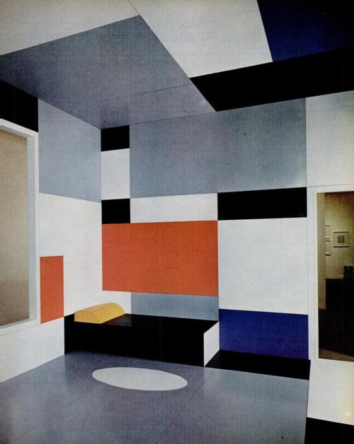 In 1926 Piet Mondrian drafted architectural plans for a hypothetical room, suitable for future homes, as he saw them. In 1969, 25 years later, the Pace Gallery in New York acquired the plans and had the room fabricated in Formica plates, with colors matched from Mondrian's original paint tubes.: