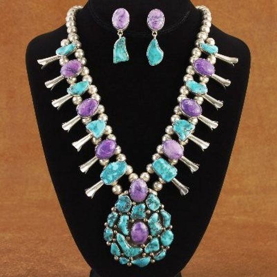 Vintage Native American Sugilite Blue Gem Turquoise Necklace, Bracelet Ring & Earring Set