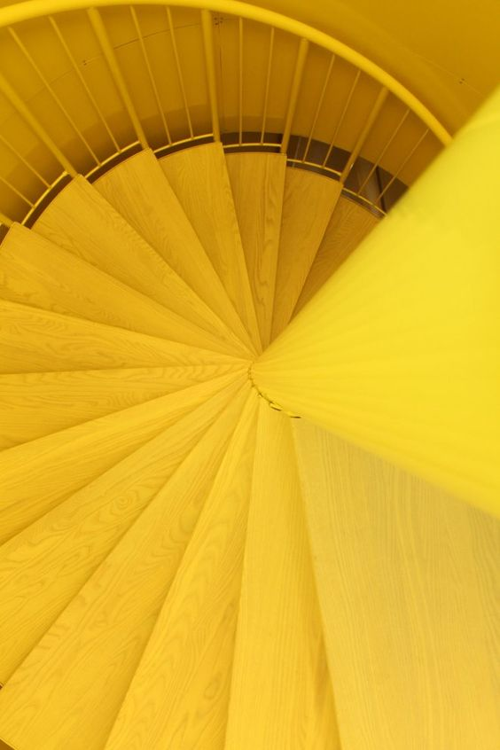 Yellow stairs and staircases on pinterest for Bright vibrant colors