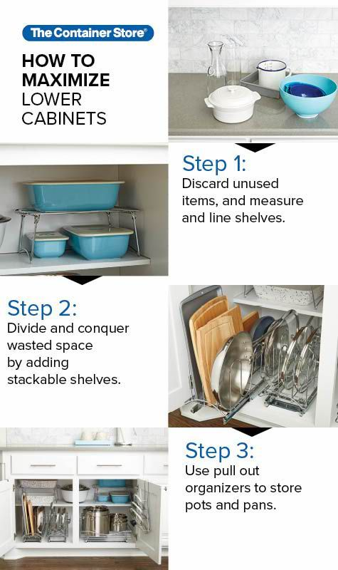 How To Efficiently Organize Your Lower Kitchen Cabinets No Matter What You Re Storing In Your Kit Kitchen Cabinet Organization Cabinets Organization Cabinet