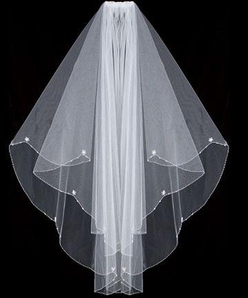Two-tier waist w/ scalloped edge, simple Swarovski crystal flowers & pearls design