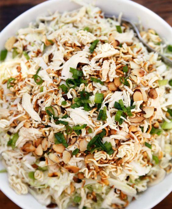 Asian chicken almonds ramen noodle