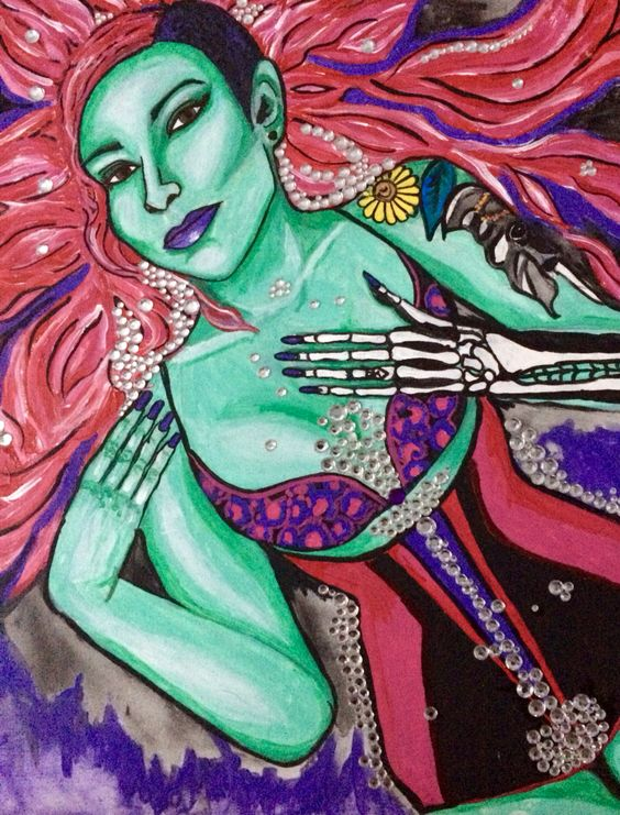 "Scream Queen 1 Acrylic on canvas board  16"" x 20"""