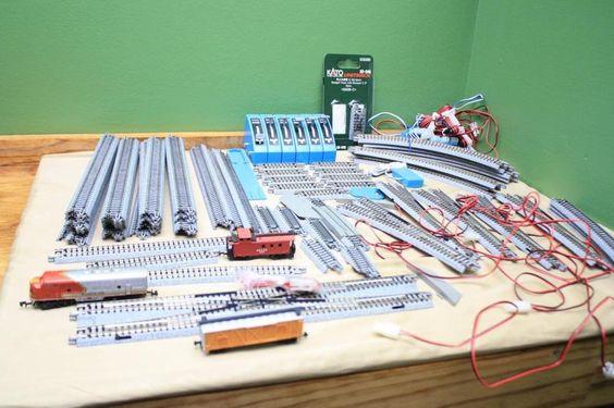 N Scale Kato Unitrack Lot Track & Accessories Lot 100 piece Lightly Used #Kato
