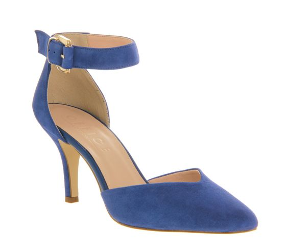 Office Gabby Two Part Court Blue Suede - Mid Heels