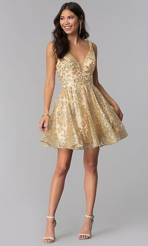 Jvnx By Jovani Gold Glitter Short Homecoming Dress Gold Dress Short Glitter Dress Short Sparkly Dress