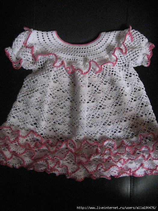 Crochet Ruffled Baby Dress Pattern : Pinterest The world s catalog of ideas