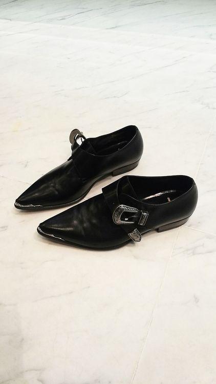 ☆  Saint LaurentBlack Western Buckle Leather Shoes