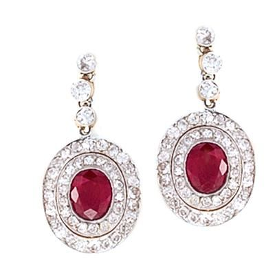 Edwardian Ruby and Diamond Earrings set in Platinum-topped Gold.   Available exclusively at Macklowe Gallery.