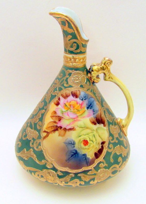 Beautiful Antique Hand Painted Nippon Roses Ewer Vase 52