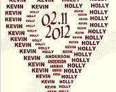 """U Print ... Personalized, """"2 Hearts Become One"""" Wedding Date and Name print."""