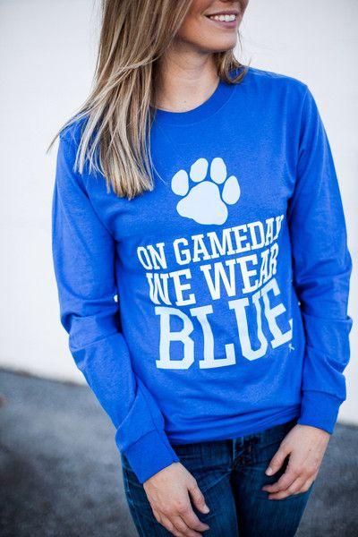 On Game Day We Wear Blue Long Sleeve T-shirt Kentucky Wildcats University of Kentucky