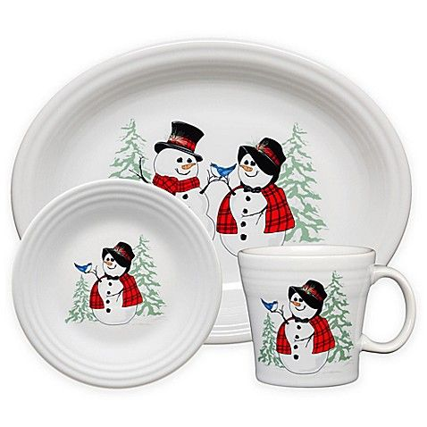 Fiesta Snowman Snowlady Dinnerware Collection Made In The Usa By Homer Laughlin China Company Bed Bath Beyond Fiesta Dinnerware Fiesta Christmas Dishes
