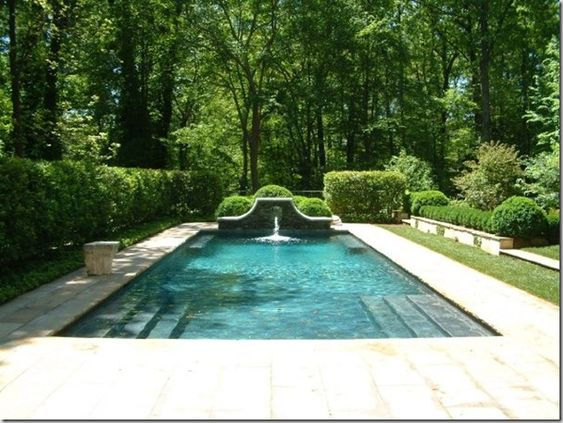 Beautiful garden and trees around pool by howard design for Gardens around pools