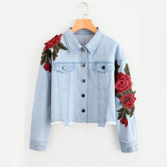 denim jacket with rose patchwork 90s fashion