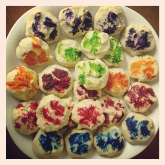 Teacakes with a dab of food coloring.