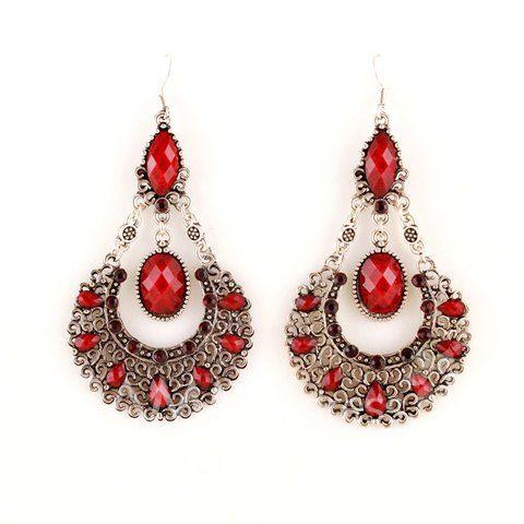 $3.46 Pair of Bohemian Openwork Women's Waterdrop Shape Earrings