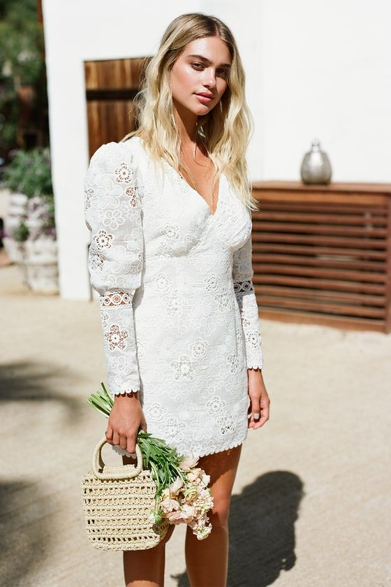 Blissful Times White Embroidered Lace Puff Sleeve Mini Dress