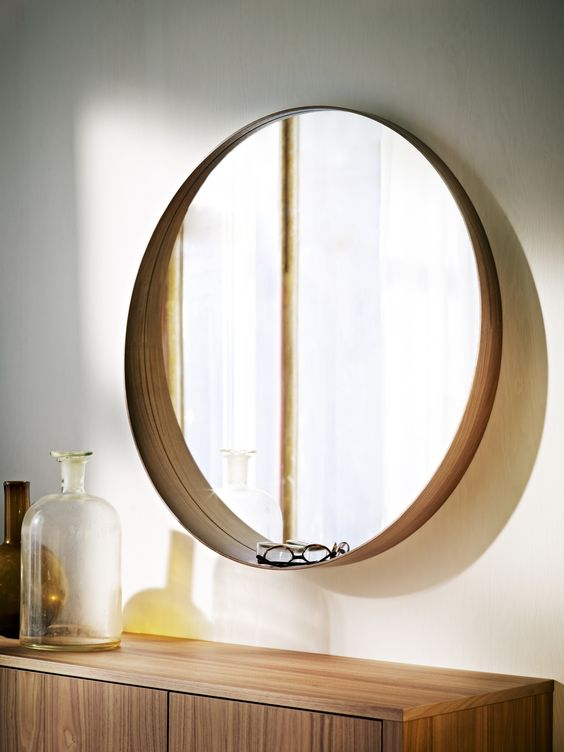 Mirror stockholm walnut veneer mirror with shelf round for Miroir ikea rond